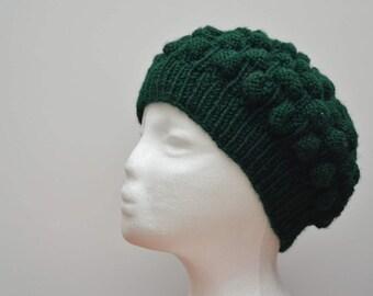 Handmade knit hat, winter hat, green