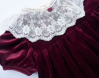 Vintage Ruby Red Velour Lace Collared Dress