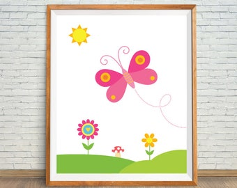 Butterfly Room Art, Butterfly Wall Art, Pink Butterfly, Butterfly Nursery Art, Art For Girl, Butterfly and Flower, Butterfly Girls Printable