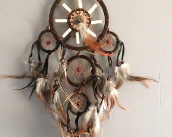 Native American apache dream country leather bone feather dreamcatcher