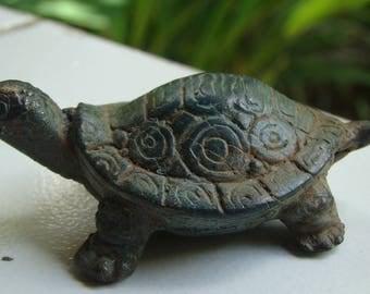 Vintage antique old brass turtle