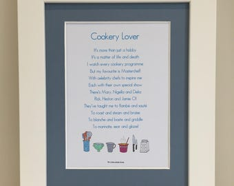Cookery Lover Poem, Cookery Lover Print, Cookery Poem, Cookery Print Cookery Gift, Kitchen Gift, Kitchen Wall Art, Gift for Her, Mum
