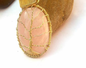 Tree of Life Pendant Brass Wire Wrapping Rose Quartz Pendant Mother's day gift Pendant gift-for-all mother gift-for-women family of tree