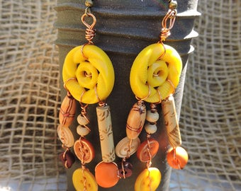 Earrings yellow, orange, Maroon, beige, materials recycled