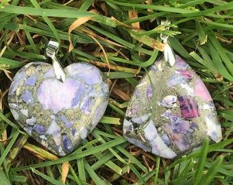 Purple Sea Sediment Jasper Stone Pendants With Silver Plated Bail - Purple Jasper Pendant Necklace - Jasper Sea Sediment - Gift For Her