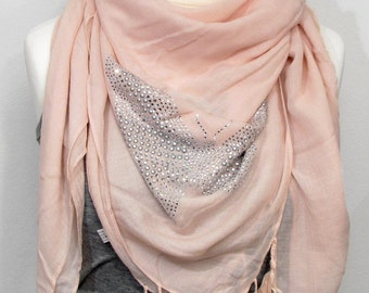 Studs scarf fringe Butterfly
