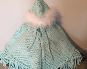 Handmade Knit Light Blue Poncho and Hat Set