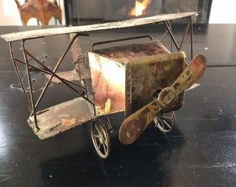 Vintage Copper Metal Airplane Music Box