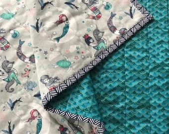Mermaid quilt, mermaid blanket, nautical quilt, baby girl quilt, mermaid baby shower, mermaid bedding, nautical nursery, mermaid scales