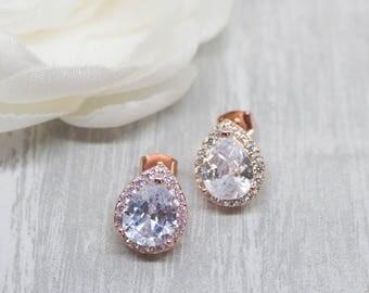 Earrings rose gold crystal wedding cubic zirconia bridal jewellery