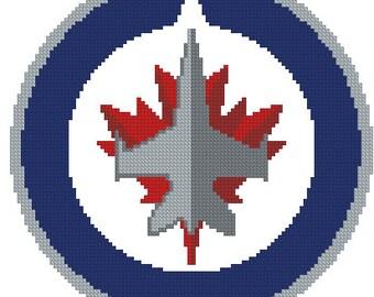 Winnipeg Jets cross stitch kit, NHL cross stitch, Winnipeg Jets logo