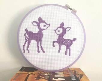 Deer cross stitch kit, modern cross stitch, animal cross stitch