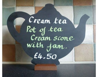 Large Teapot Shaped Chalkboard With Wooden Base - 426mm x 324mm