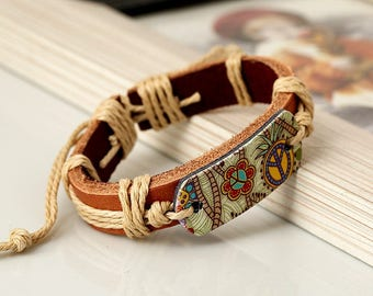 AshanFashion Flower Peace Symbol Alloy Leather Bracelet
