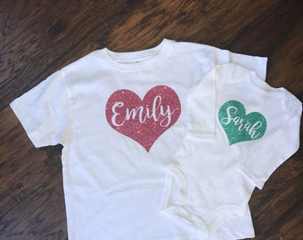 Personalized Name in Glitter Heart Shirt, Birthday Shirt, First Birthday, Custom, Monogram