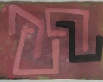 ACEO contemporary original gouache painting