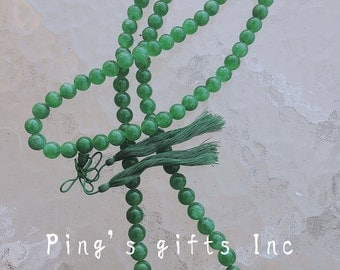 Asian Tradition Green Beads Jade Necklace With Green Knot 25''
