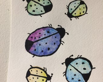 Ladybugs in pastel colors