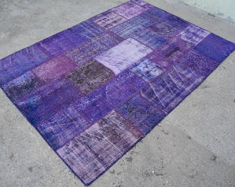 Vintage PURPLE PATCHWORK RUG , Turkish Purple Patchwork Area Rug - 5'5 x 7'9 ft