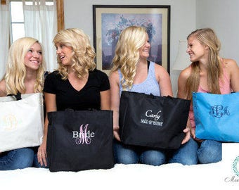 Set of 3 Personalized Tote bags,  Bridesmaid Gift, Wedding Party Gift,monogram totes, Wedding Gifts