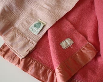 Bright Pink Vintage Wool Blanket