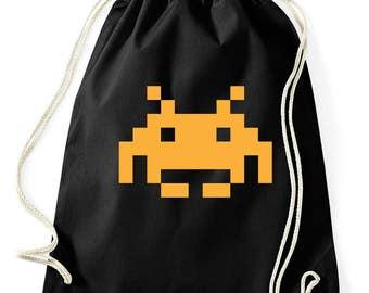 Space invaders retro logo bag