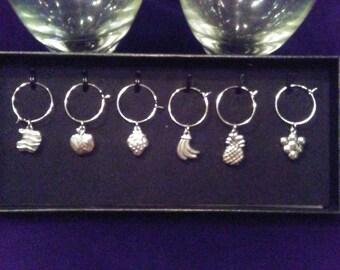 Wine glass charms 6 piece set