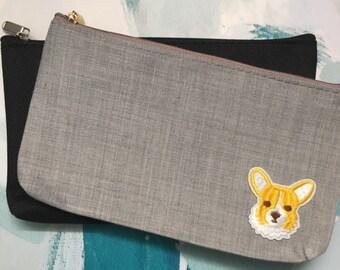 Corgi Patched Pencil Pouch Accessory Bag