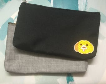 Doggy Puppy Patched Accessory Pouch Pencil Bag