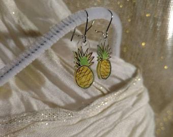 Shrink Plastic earrings Unalome pineapple - Buddhist art,  Spiritual jewelry - OFAK Hand drawn Shrinky Dinks charm