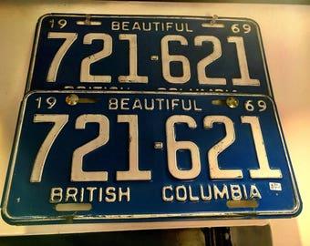 Vintage 1969 British Columbia License Plates