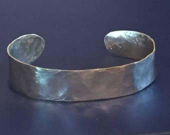 Handmade Hammered Sterling Silver Cuff Bracelet