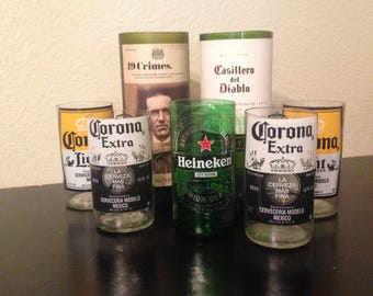 Recycled bottle glass, cup, beer glasses, wine, corona glasses, pencil holders, container.