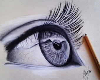 Orginal Pastel Eye Drawing