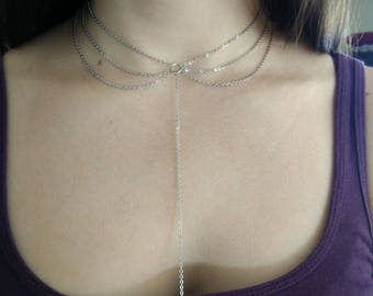 Dainty heart lariat necklace