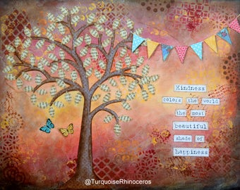 Kindness Tree Mixed Media Collage Art Print