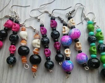 skull beaded earrings