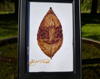 Coffee Painted Candle on Leaf