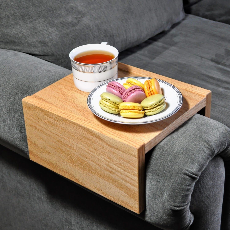 Custom Armrest Table Couch Armrest Chair Caddy Wood Tray