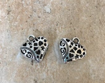 2 Pewter Heart Beads