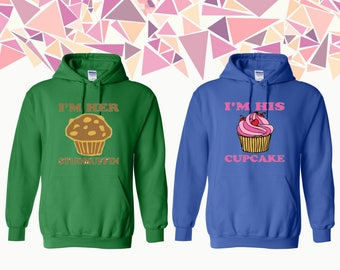 I'm Her Sudmuffin I'm His Cupcake Hooded Sweatshirt Studmuffin Cupcake Couple Hoodie Couple Hoded Sweatshirt Couple Sweater Gift For Couple