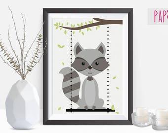 Safari Nursery | raccoon print, baby raccoon , safari animal, baby animal prints, raccoon wall art print, printable poster, nursery animal