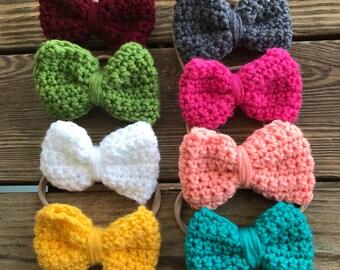 Crochet headband bows