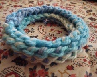 blue green hair scrunchie