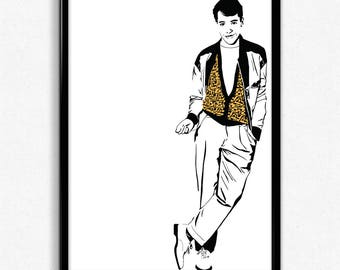 Ferris Bueller Art Print - Super Detailed Giclee Print of Matthew Broderick in Ferris Bueller's Day Off - Multiple Sizes and Colors