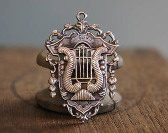 French Brass Stamping Ornate Baroque Neoclassical 18th Century Frame Lyre Music Instrument Classical Arts Pendant Handmade Supply