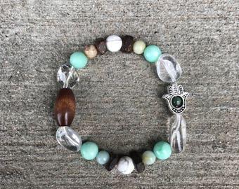 """Handmade """"I Am Genuine"""" Affirmation Bracelet Crystal Bracelet Amazonite Bracelet Howlite Bracelet Wood Bracelet Natural Bracelet Healing Bra"""