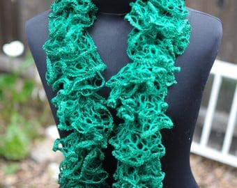 Green Ruffle scarf crocheted by hand and made with love