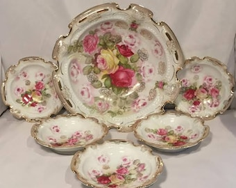 Stunning J.S.V. Germany Berry Bowl Set - Circa 1911-1932 -6 Piece Set