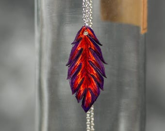 Small Feather Necklace | Leather | Pendant | Feather Jewelry | Boho